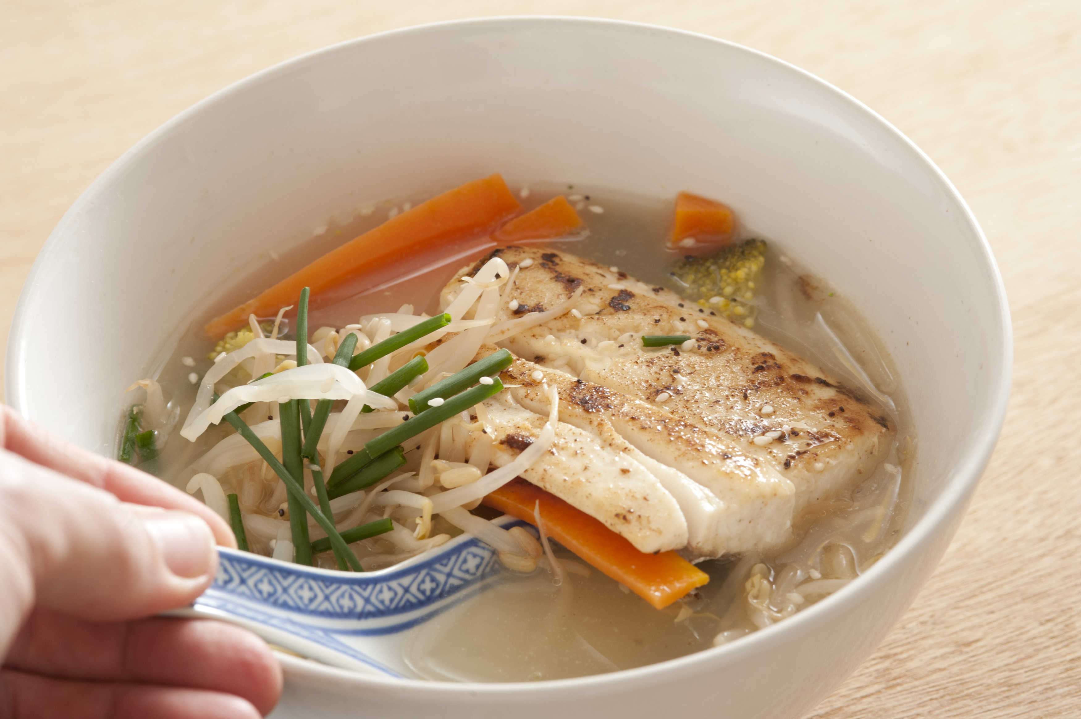 bowl of asian recipe milk fish noodle soup