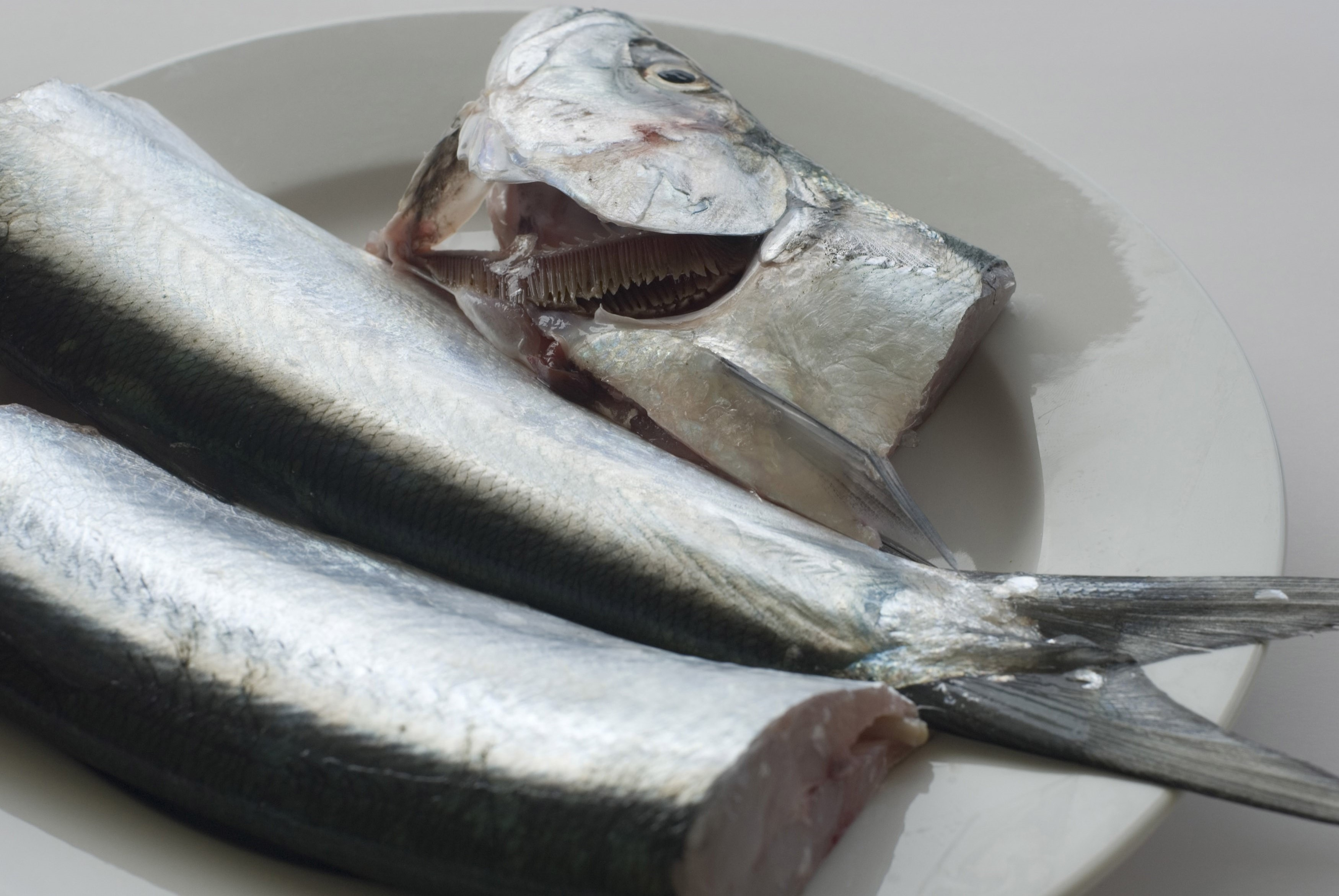 Preparing fresh raw fish with two fish on a plate, one with the head severed and placed alongside