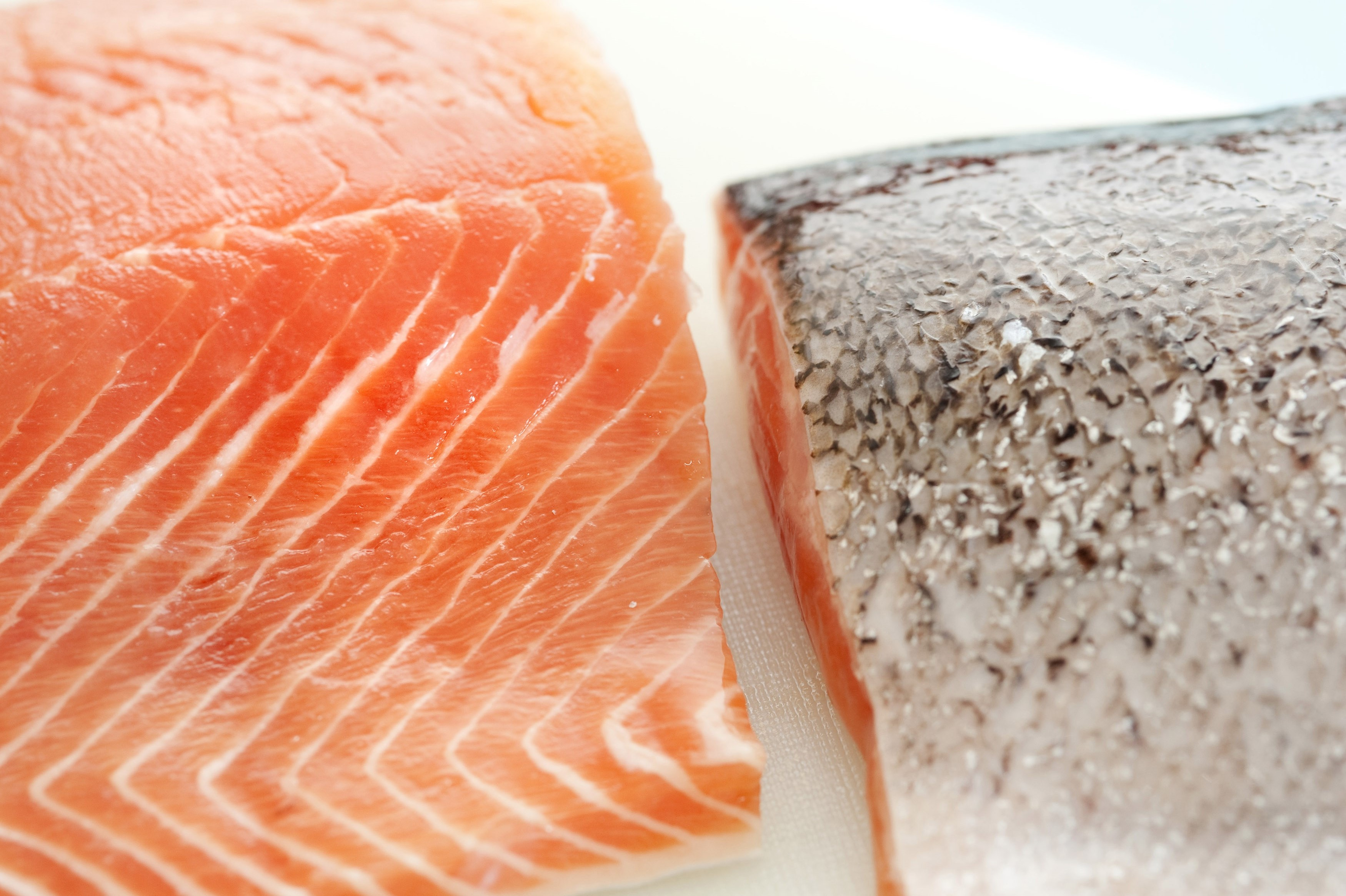 Close up overhead view of two fresh salmon fillets one displaying the flesh and the other the texture of the cleaned silver skin