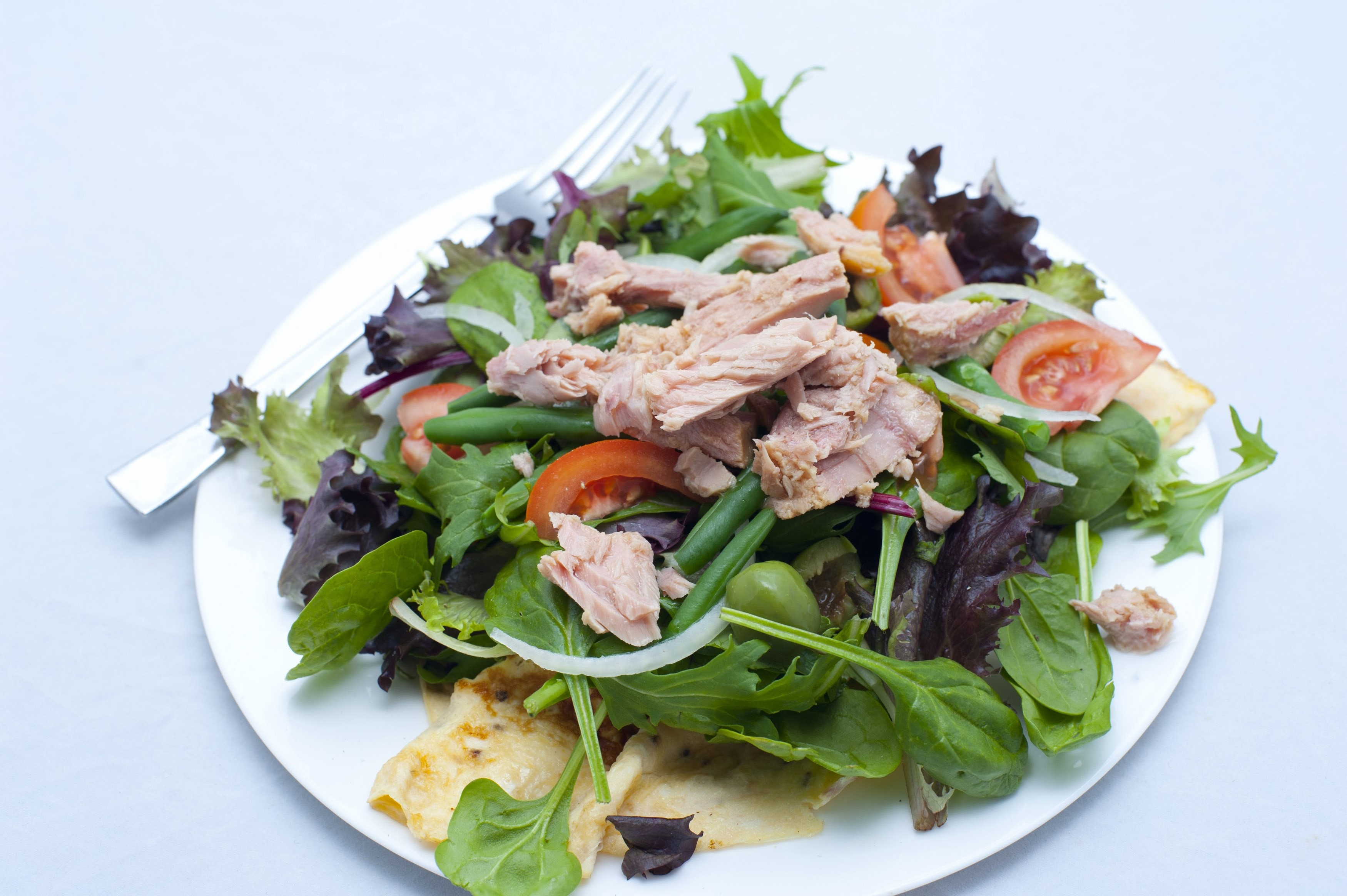 Leafy green salad nicoise with tuna, eggs, olives, tomato and fresh herbs served on a plate, high angle view