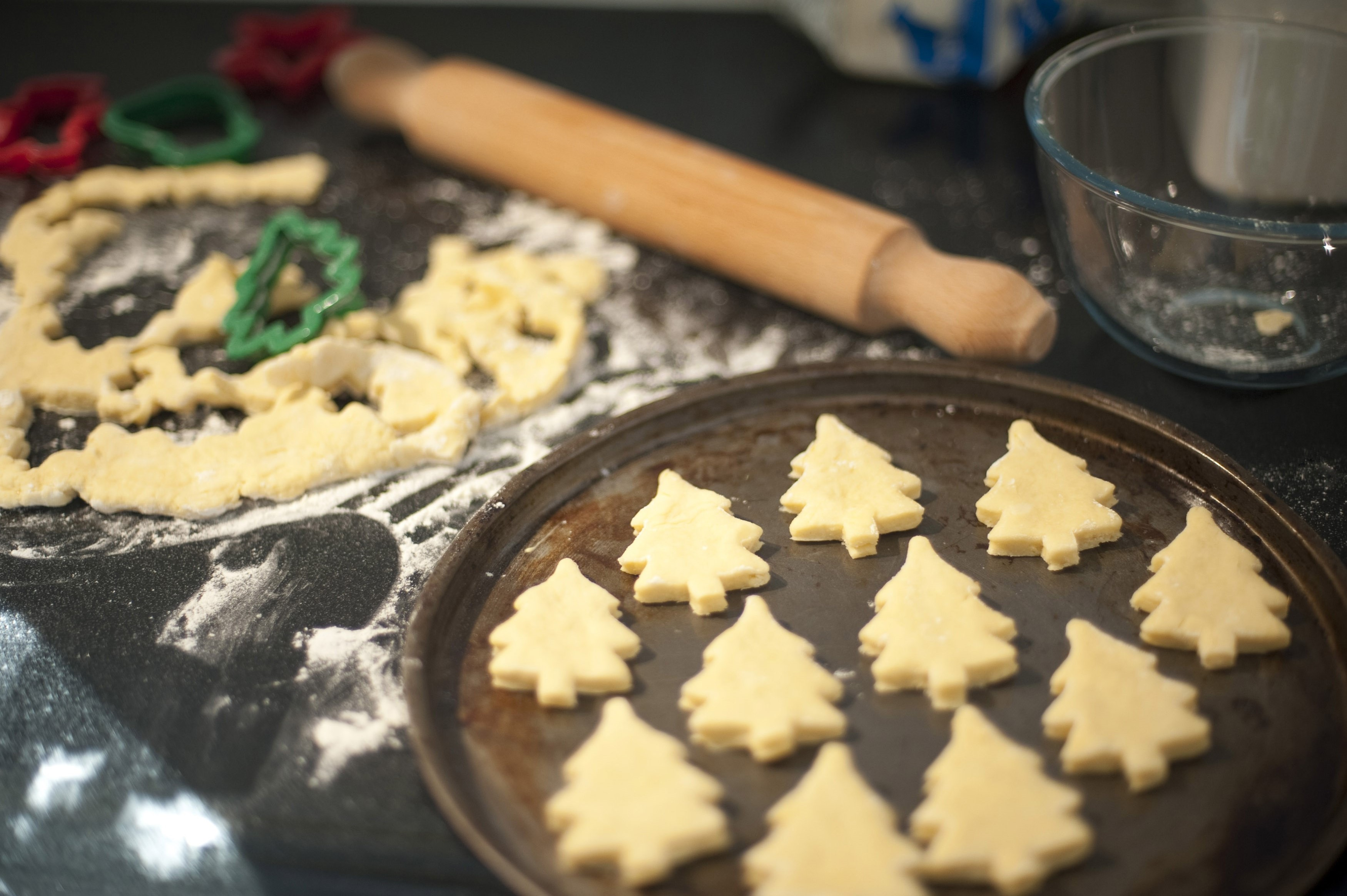 Baking homemade Christmas cookies - Free Stock Image