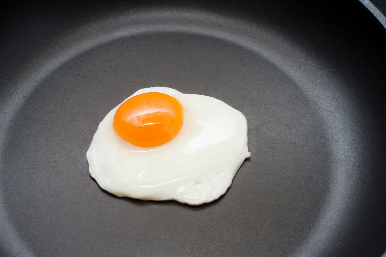 Single Fried Egg In A Pan Free Stock Image