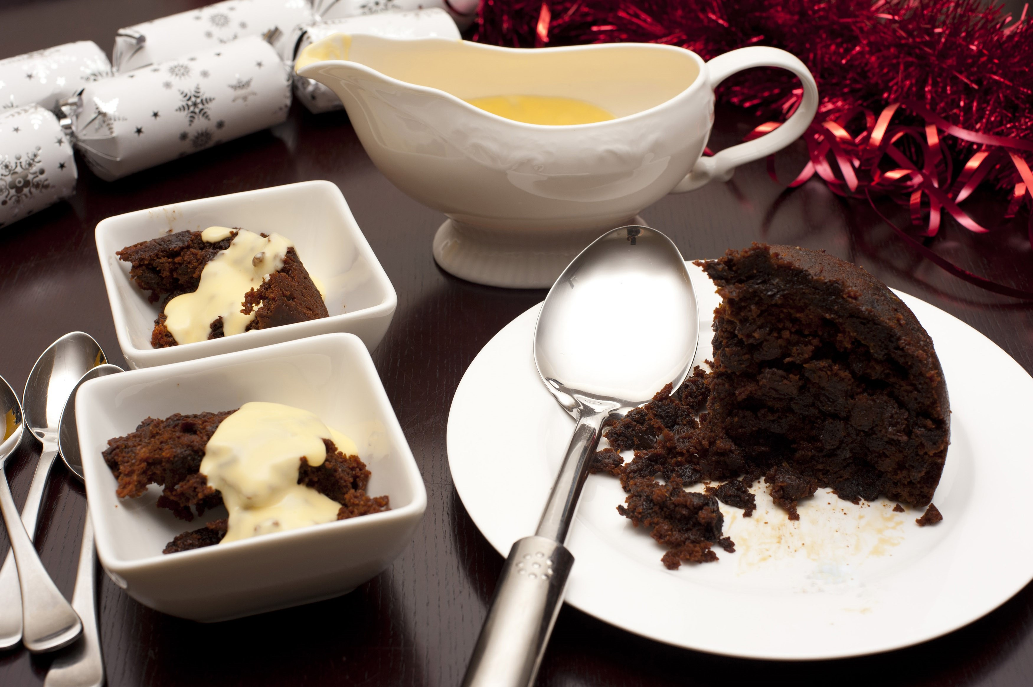 Christmas Pudding With Brandy Sauce Free Stock Image